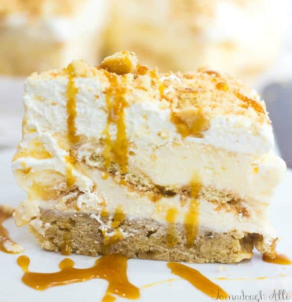 Layers of delicious banana bars, frosting, nilla wafers, ice cream, caramel and whip cream make up this super delicious Banana Caramel Ice Cream Cake.