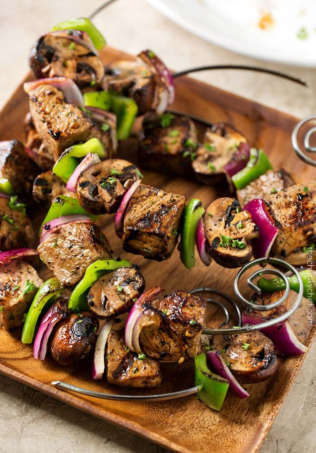 These easy grilled steakhouse kebabs are the perfect meal to grill up at your next cookout or BBQ! They're super easy to customize, and the flavor imparted by the marinade is oh so absolutely perfect!