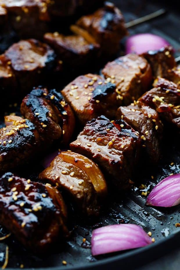 Grilled Asian Garlic Steak Skewers are marinated in a delicious asian garlic sesame sauce and grilled to tender and juicy perfection!