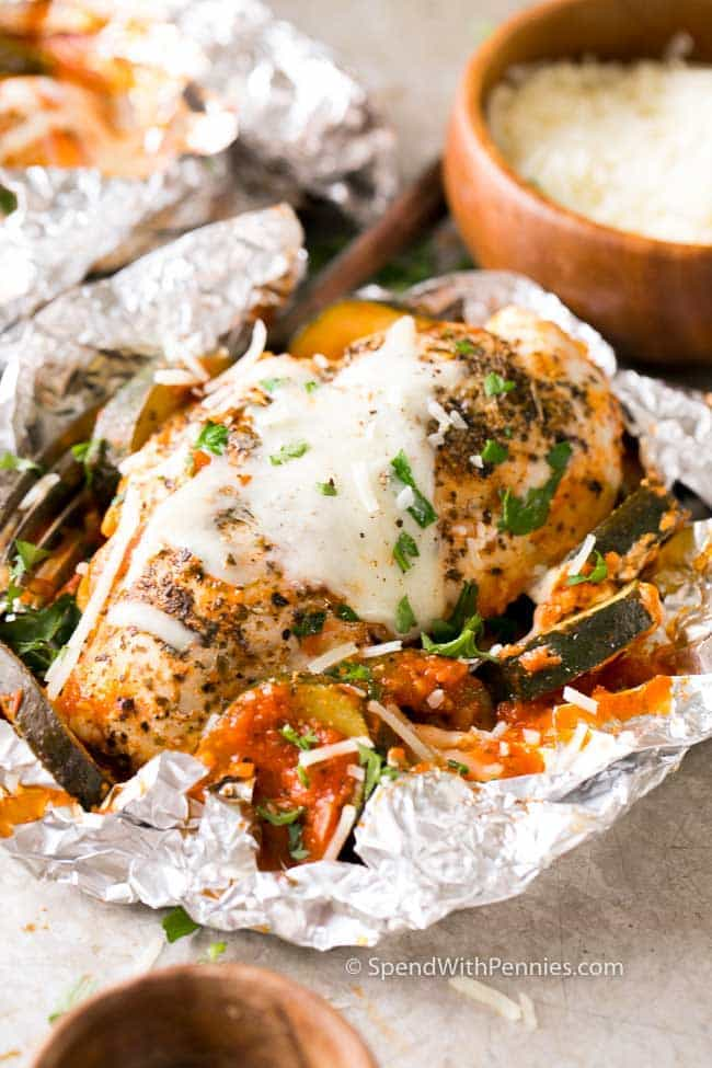 Parmesan Chicken Foil Packets contain a complete dinner in one tidy little packet!
