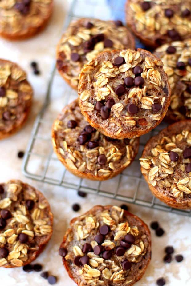 These soft, chewy, texture-filled baked banana oatmeal cups are naturally gluten-free (make sure your oats are certified GF), kid-friendly and totally customizable.