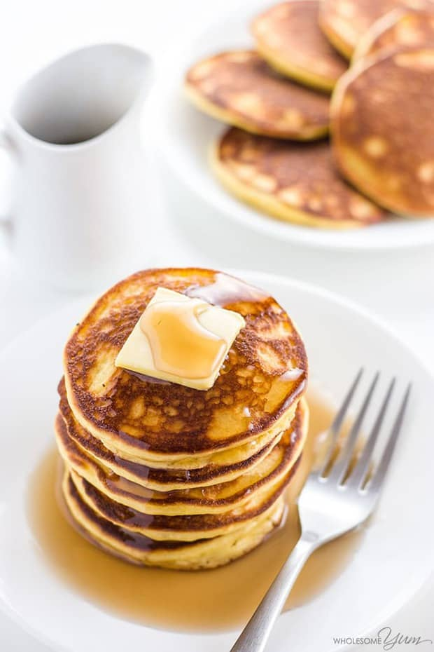 These 6-ingredient keto low carb pancakes with almond flour and coconut flour are so easy, fluffy, and delicious. Paleo and gluten-free, too!
