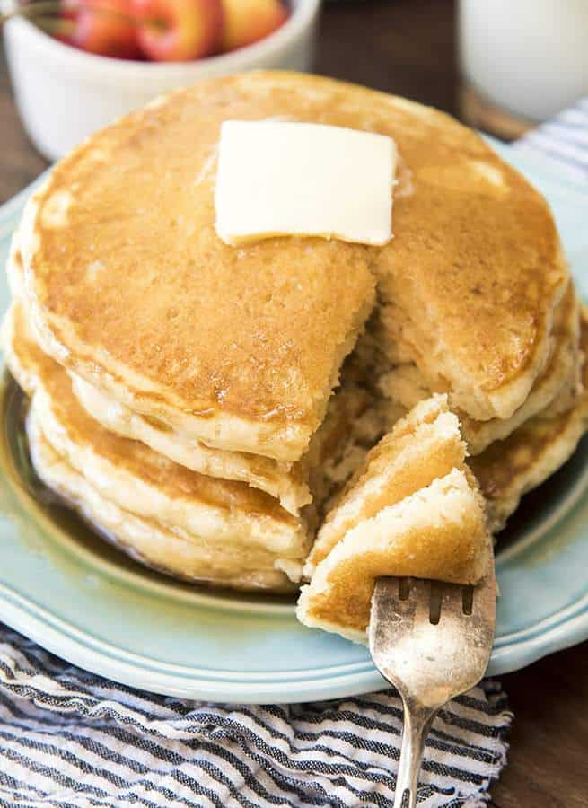 These pancakes are the perfect solution for breakfast in the morning, or brinner at night. They're fluffy, thick, soft and delicious. Great topped with any of your favorite toppings!