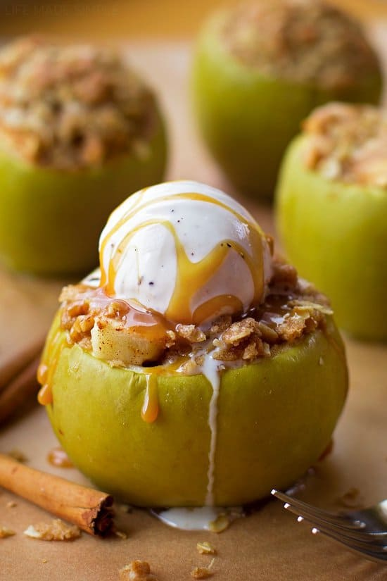 Everything you love about apple crisp butbaked inside anapple.This fun falldessert is something everyone will love! So yummy! These are so cute, and would be so fun to make with kids. They would think these were so fun to make, and would obviously love eating them too!