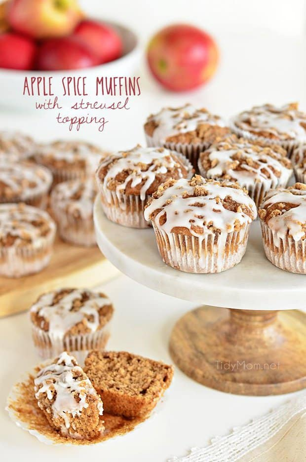 APPLE SPICE MUFFINS WITH STREUSEL TOPPING -- part of 19 MUST MAKE APPLE RECIPES FOR FALL
