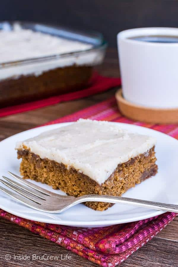 This spicy and dense Apple Butter Cake is topped with a brown butter vanilla frosting. This is a delicious dessert for fall parties.