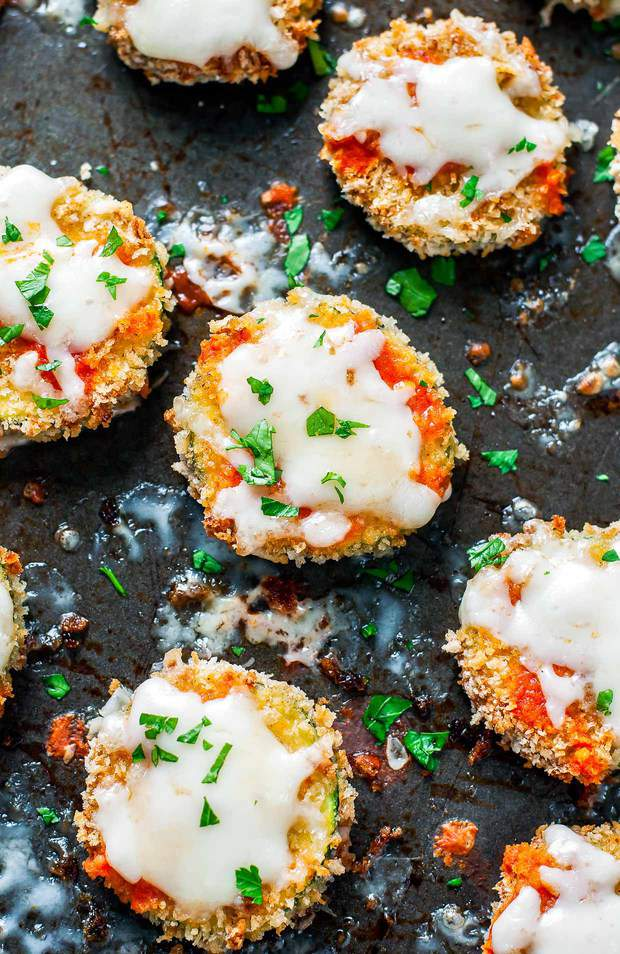 Cheesy Baked Buffalo Zucchini Chips let veggies in on the fun of game day snacking!