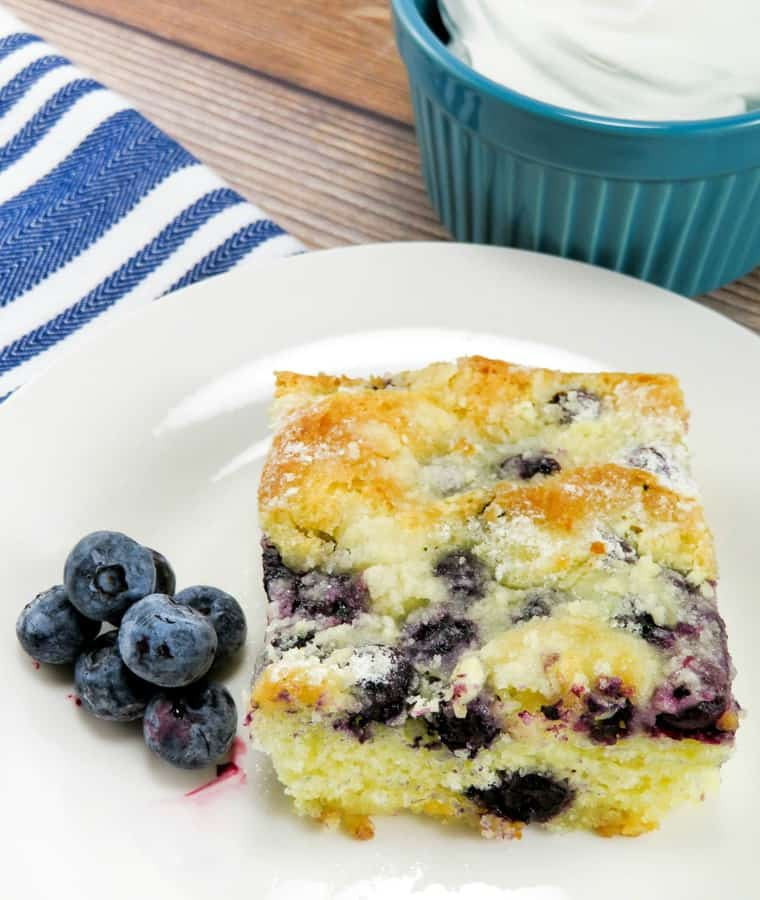 Everyone goes crazy in general for butter cake- its perfectly rich and moist with sensational flavor throughout- now this just has a nice boatload of blueberries added to make it even BETTER.