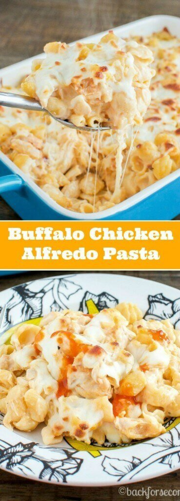 Buffalo Chicken Alfredo Bake Long