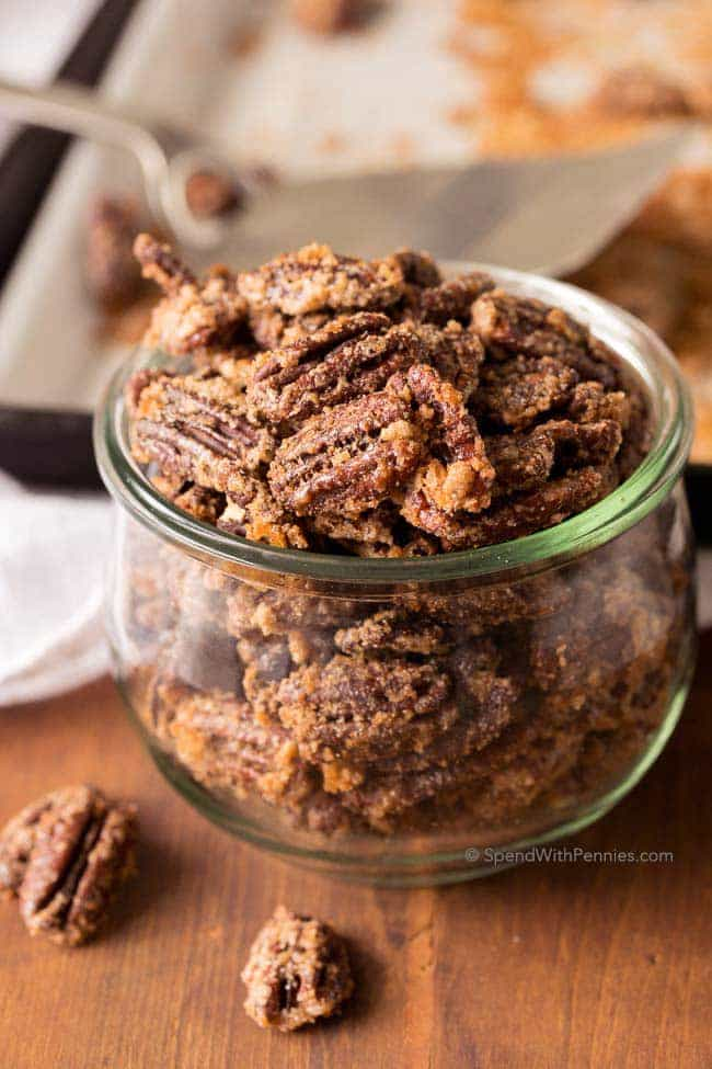 Candied Pecans are the most delicioussweet crunchy snack. Perfect for topping ice cream, tossing in salads orto grab a handful for a snack!