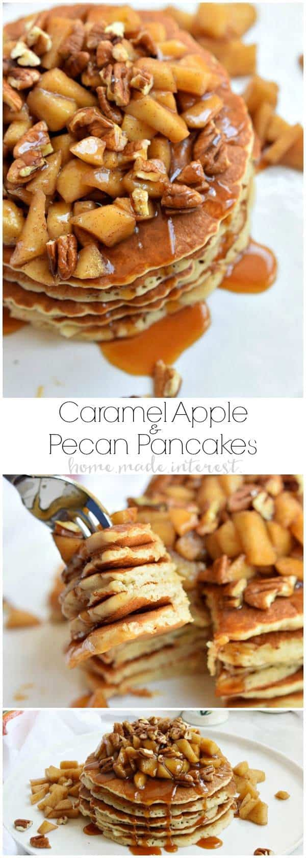 TheseCaramel Apple Pecan Pancakesare a fall breakfast recipe made with light and fluffy pancakes topped with caramel sauce, baked apples, and pecans.