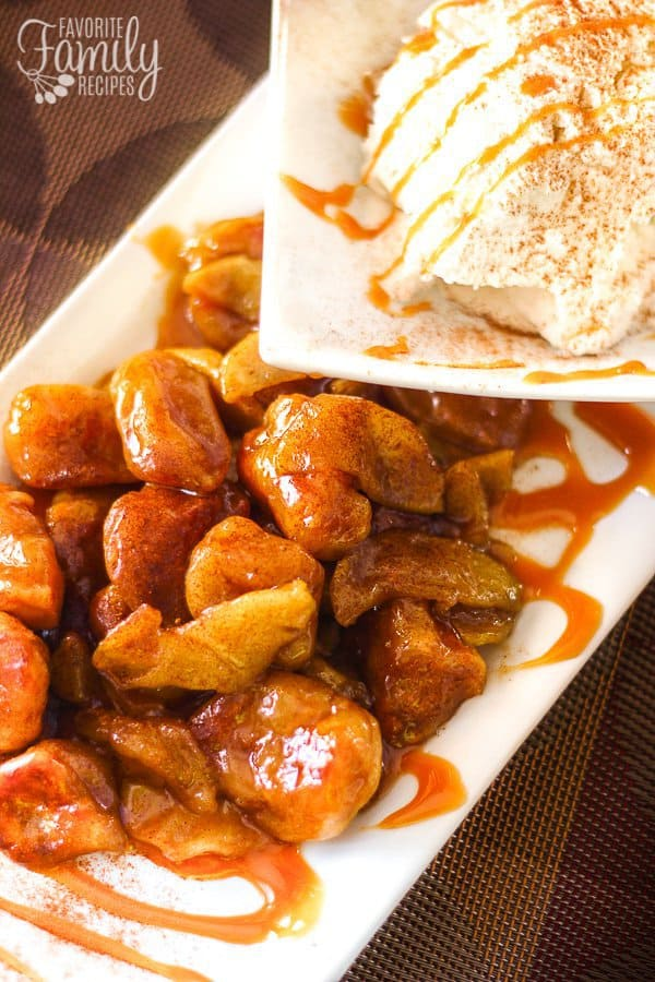 Fun little fall treats that have huge flavor! Not only do they have cooked apples, but they are covered in the most delicious caramel sauce too! Serve them HOT and with a scoop of your favorite ice cream for a fun dessert that your friends and family will go crazy for!