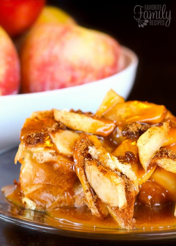 Is sure to become one of your favorite Fall breakfast recipes to make for your family! Every member of your family,no matter how old, will as for this breakfast time and time again! With the combination of soft French toast, crisp apples, and warm gooey caramel, it's a breakfast treat that your taste-buds will go crazy for!