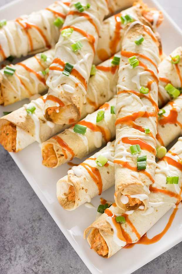 Cheesy Buffalo Chicken Taquitos– These crispy taquitos are a snap to make! Full of shredded buffalo chicken, ranch seasoning, and plenty of cheese! A fun appetizer or easy main dish that everyone in the family will love.