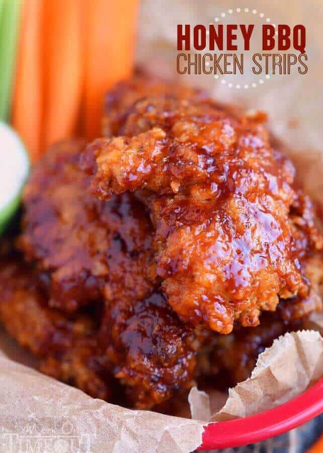 Sticky, sweet Honey BBQ Chicken Strips are perfect for dinner or game day! Marinated in buttermilk and perfectly seasoned, these strips are hard to