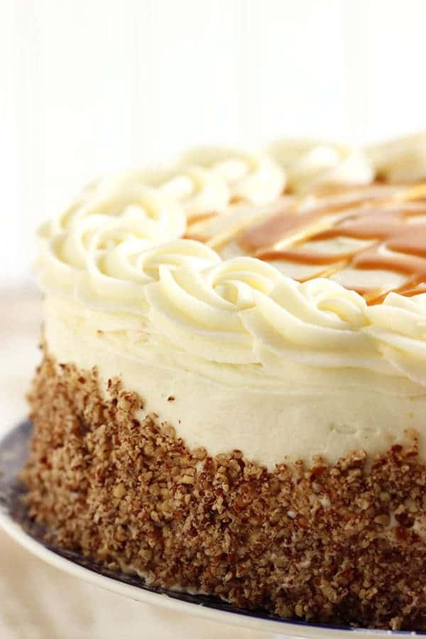 Celebrate derby day with animpressive Kentucky Bourbon Butter Cake. A slight departure from the original Bourbon Butter Cake, this version is layered with cream cheese frosting and salted caramel sauce.