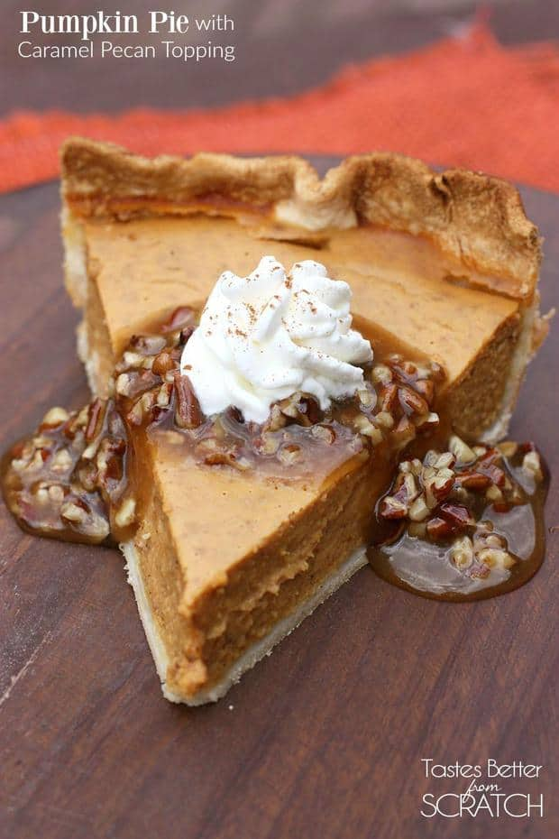 "Spoon a glorious slice of this favorite homemade pumpkin pie with warm, delicious caramel pecan topping and there's no pie that deserves ""Queen Bee"" status more!"