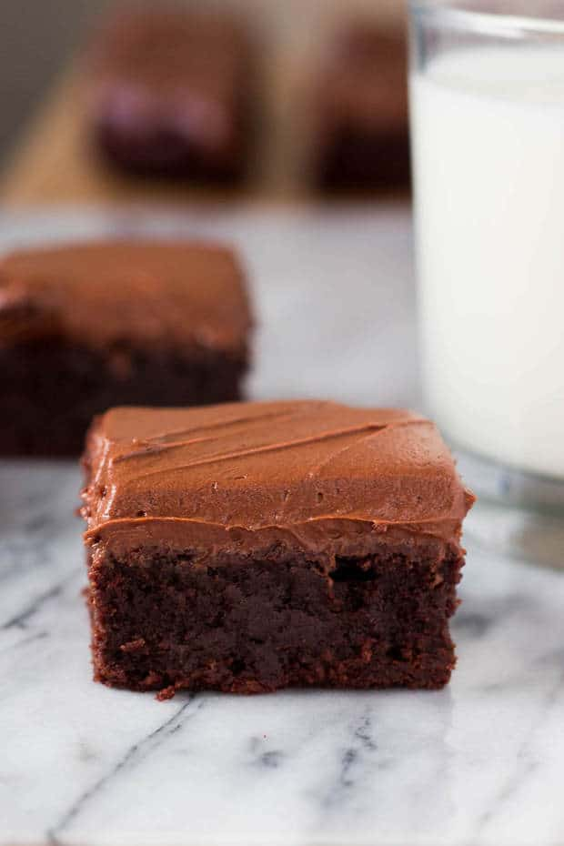 Super moist, super fudgy and slathered with a thick layer of cream cheese chocolate frosting – these brownies will be your new favorite.
