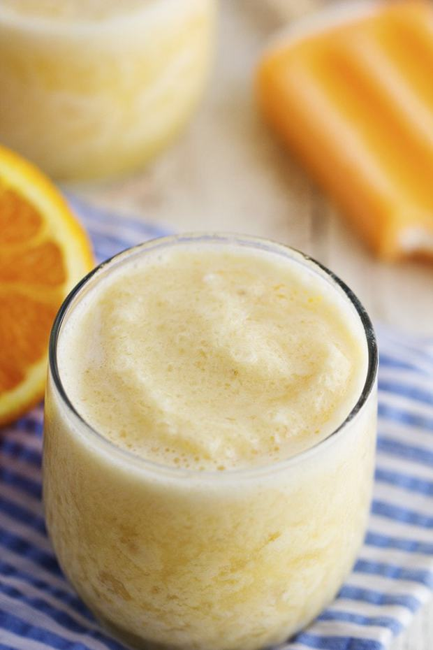 This creamy orange smoothie has no added sugar and a secret ingredient.  It tastes just like you are biting into a creamsicle!  The family is sure to love this one!