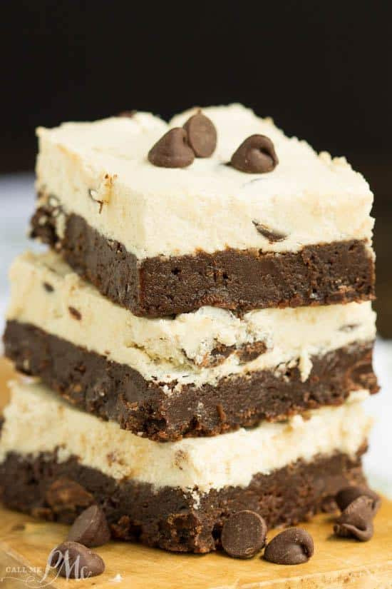 Cookie Dough Frosted Brownies. Every bite of these chocolate, dense, fudgy brownies are rich and luscious. They are topped with icing that tastes just like chocolate chip cookie dough.