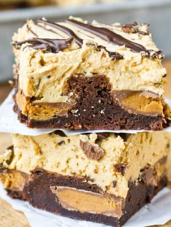Reese's peanut butter cups stuffed inside soft, chewy brownies. Top the Reese's Stuffed Brownies with this unbelievable peanut butter frosting!