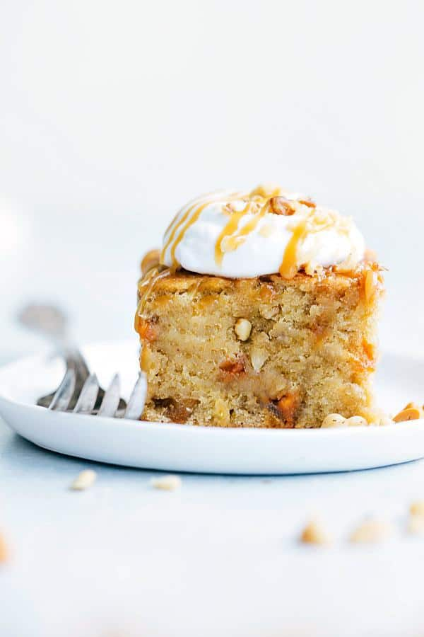 Sticky Banana Walnut Toffee Pudding Cake is a perfectly baked banana walnut pudding cake topped with the most amazing toffee caramel sauce.  This will be one of the best desserts you will ever have!