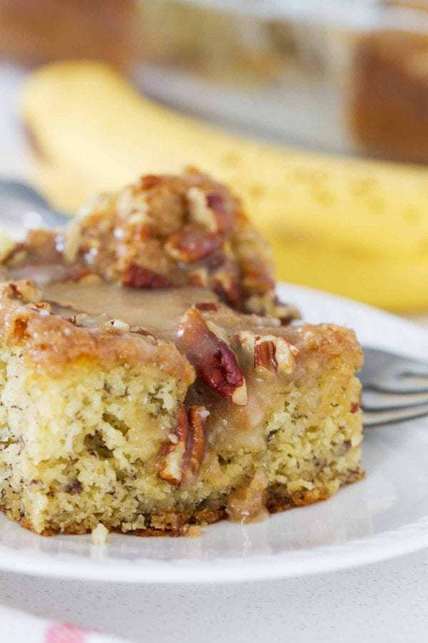 BHave leftover bananas sitting around? Turn them into this Banana Coffee Cake. And don't skip out on the honey glaze – it totally makes this breakfast cake!