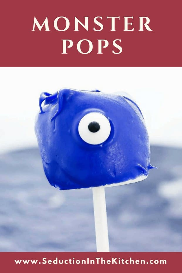 Monster Pops is a 3 ingredient fun Halloween treat! This easy kid recipe is a creative marshmallow idea that the kids will enjoy. You will love making these marshmallow pops!