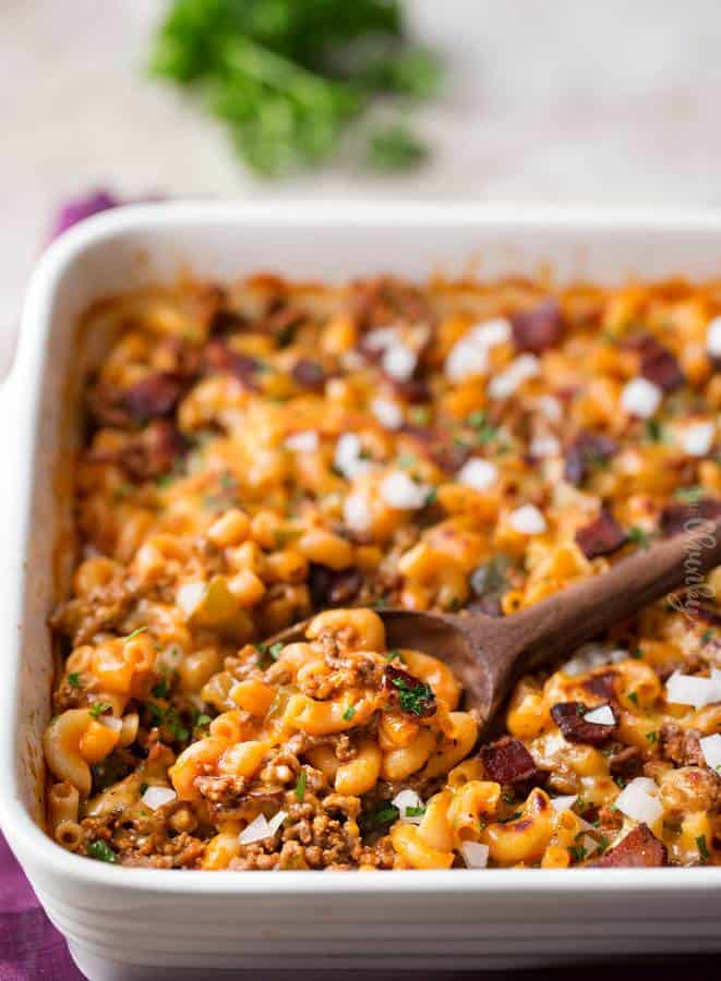 This amazing bacon cheeseburger pasta bake is made entirely in one pan, and with NO boiling required! The pasta cooks in the pan while it bakes!