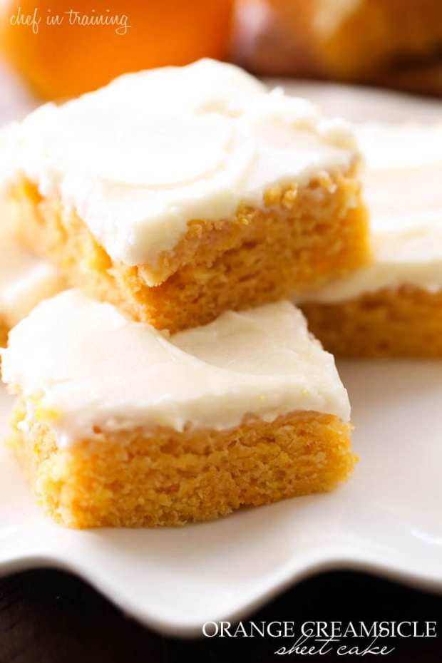 Orange flavored cake and a delicious cream frosting, this will be one of the most talked about desserts this summer