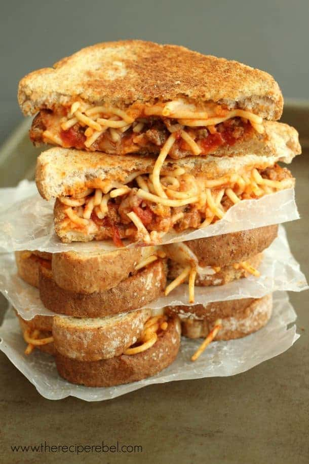 I just don't know what to say about this, other than to beg you to make extra spaghetti and meat sauce next time just so you can make these sandwiches with the leftovers.