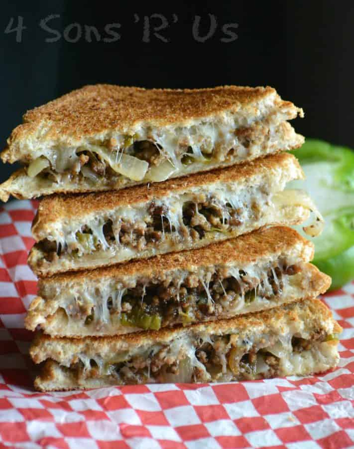 Need to add a little excitement to your day? This sandwich delivers in all the right ways. In lou of steak, ground beef is studded with green bell pepper and caramelized onions. Sandwiched between two layers of melted provolone cheese on perfectly toasted bread, this Ground Beef Philly Cheesesteak Grilled Cheese is the sandwich thrill-eaters have been longing for.