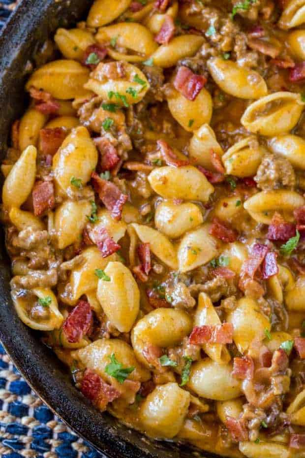 Bacon Cheeseburger Hamburger Helper is full of bacon and cheesy pasta goodness turned into a 30 minute meal perfect for weeknights that the kids will love!