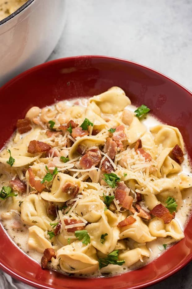 Creamy White Bean and Bacon Tortellini Soup – This creamy tortellini soup is the absolute best soup for fall and winter! Easy to make using only one pot, full of bacon, white beans, cheese tortellini!