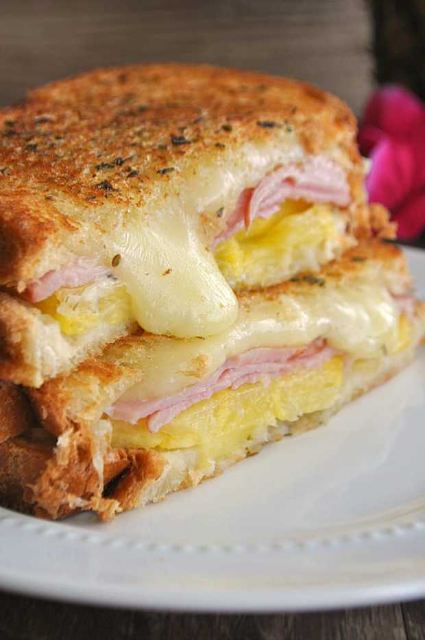 This Hawaiian grilled cheese is bursting with pineapple, Canadian bacon and jack cheese!