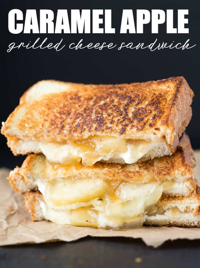 This grilled cheese sandwich tastes like cheesecake! Dessert for lunch? Yes, please! You are going to love my Caramel Apple Grilled Cheese Sandwich.