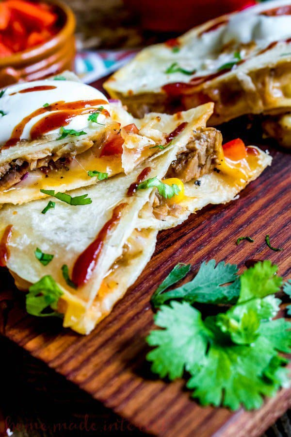 These easy BBQ Pork Quesadillas make a quick dinner recipe for busy weeknights!