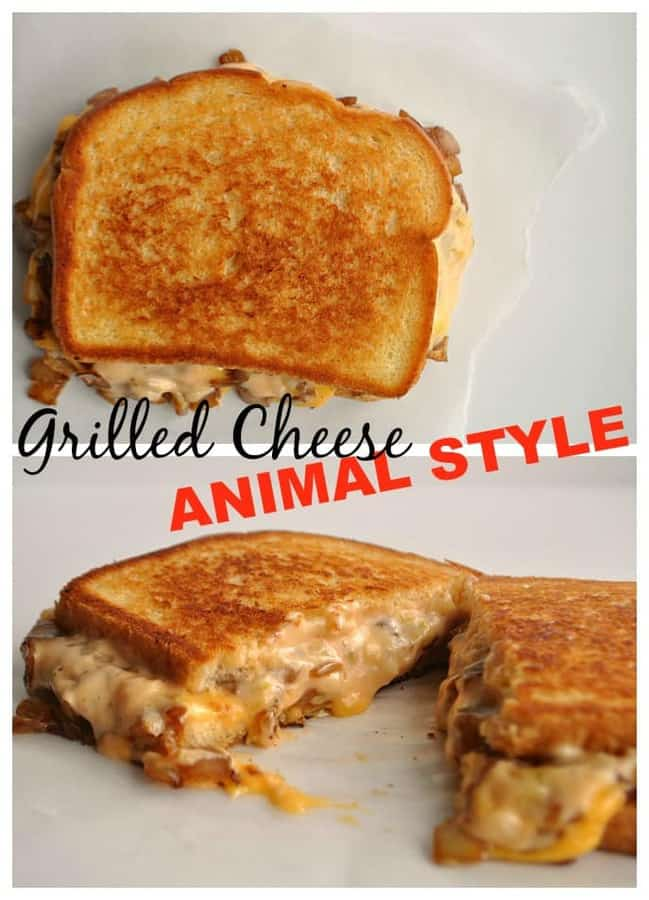 This classic grilled cheese has gone ANIMAL STYLE loaded with grilled onion and a special sauce!