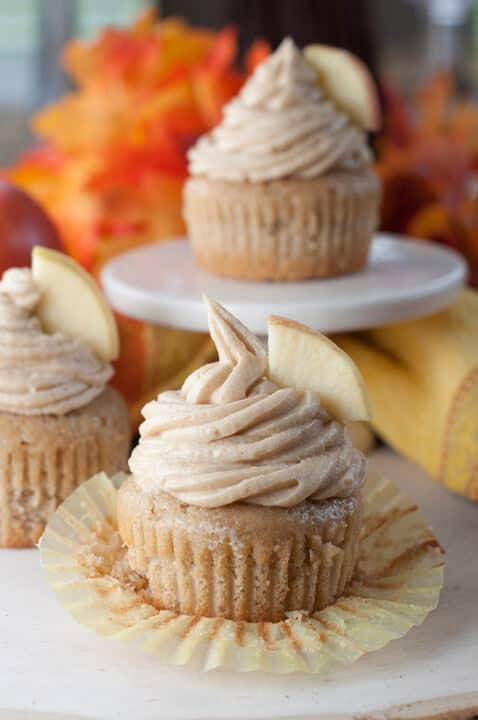 Apple Cider Cupcakes and Brown Sugar Cinnamon Buttercream -- part of 19 MUST MAKE APPLE RECIPES FOR FALL
