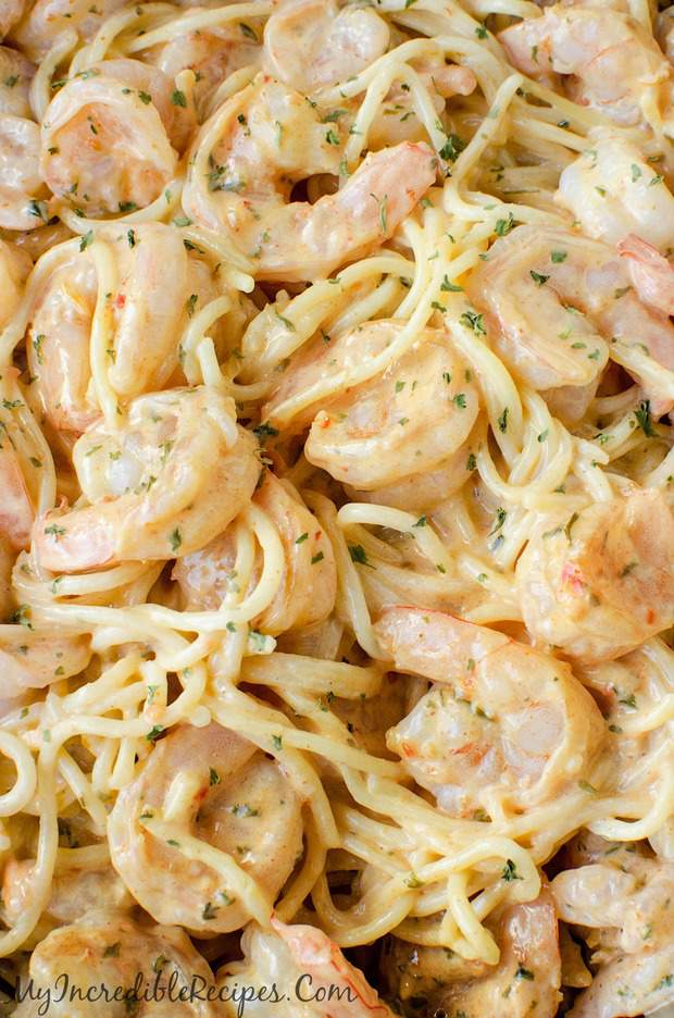 Delicious seasoned shrimp in an unbelievable pasta with sauce!
