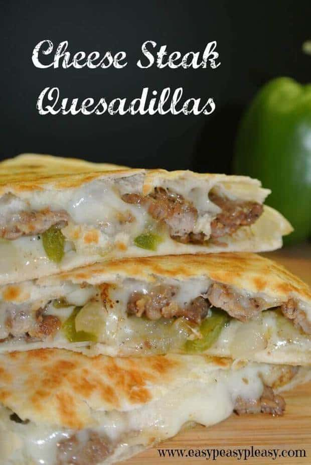 These Cheese Steak Quesadillas are a sure fire crowd pleaser. Quesadillas are in regular rotation at my house. I must say they are one of my favorite things to eat and cook. You just can't get much easier than meat, veggies, and melted cheese in a flour tortilla.