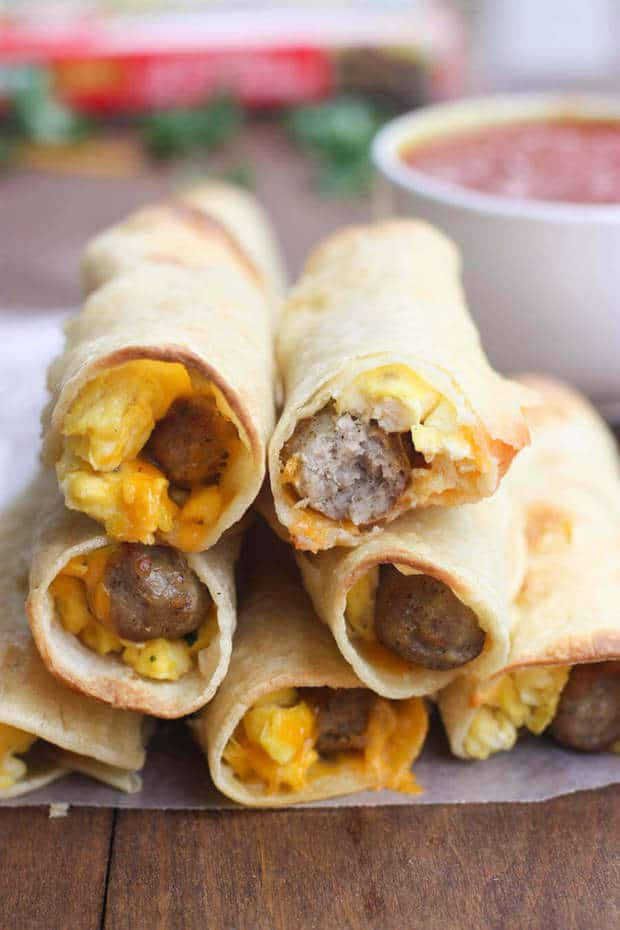 TheseEgg Sausage Breakfast TaquitosfromTastes Better from Scratchhave all of your favorite breakfast staples that get wrapped up in a delicious taquito style breakfast. They are quick and easy to make and kids really love them for breakfast before school too!