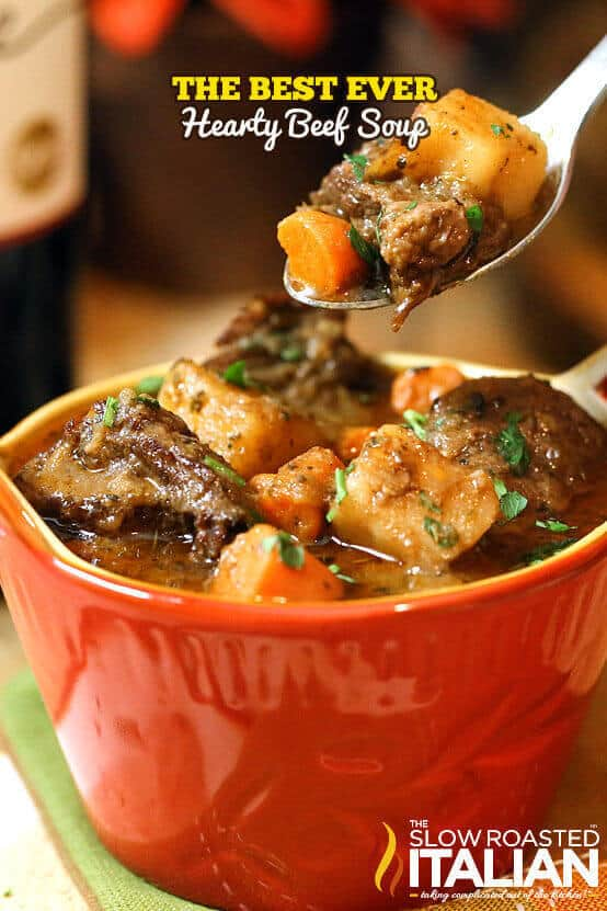 Look no further, this is the BEST EVER Hearty Beef Soup! With tender, juicy chunks of beef that melt in your mouth and a glorious rich soup loaded with vegetables, it is truly the ultimate comfort food. This simple recipe has minimal active time, and it is sure to be on your table again and again. It has been on ours! If you are looking for the most spectacular fall soup, this is the one.