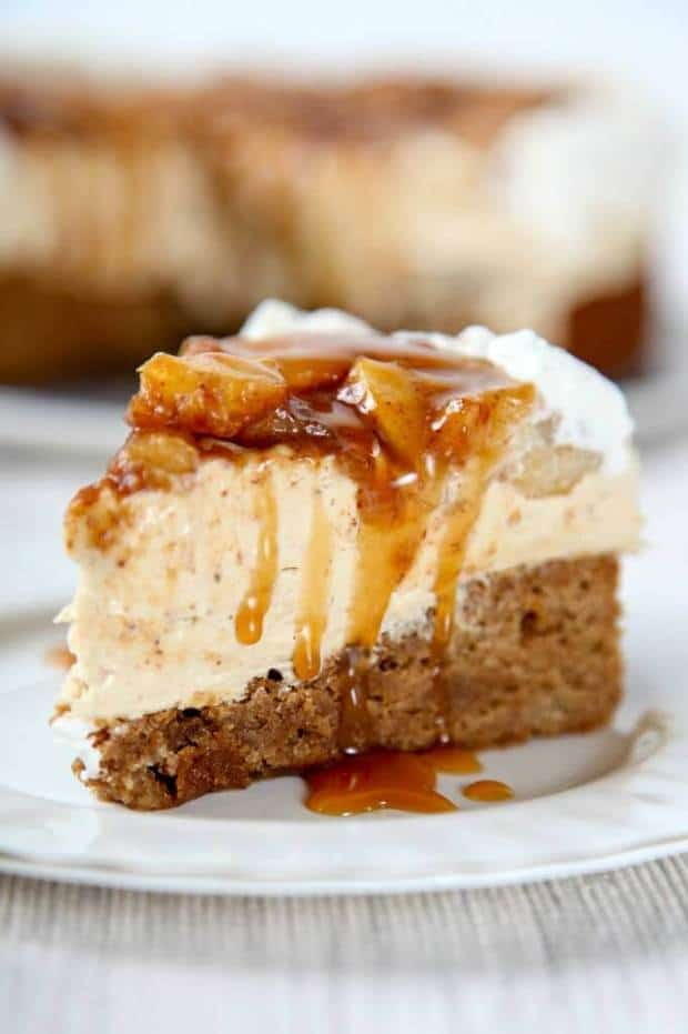 Homemade Caramel Apple Cheesecake -- part of 19 MUST MAKE APPLE RECIPES FOR FALL