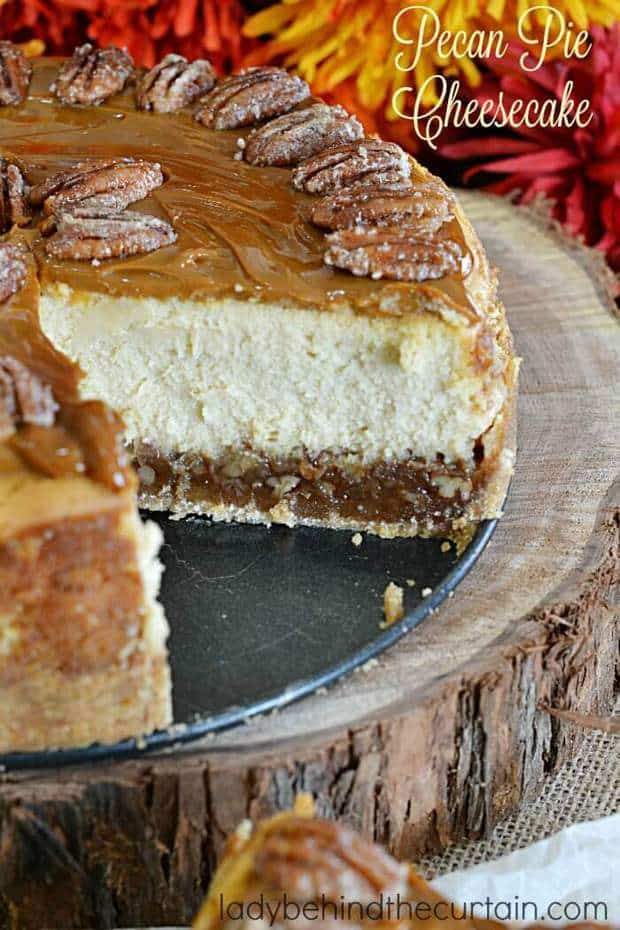 ThisPecan Pie Cheesecakerecipe fromLady Behind the Curtainis going to become your new favorite fall dessert!It combines two of your all time favorite fall flavors — pecan pie and cheesecake to create the ultimate dessert recipe! This would compliment your holiday dinners perfectly this year.