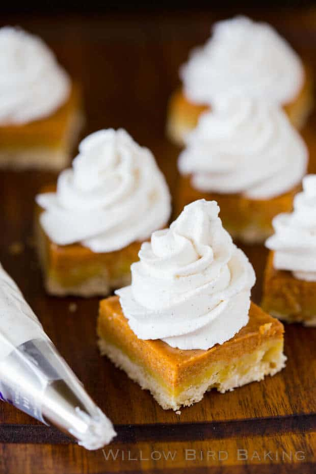 Pumpkin Pie Shortbread Bars with maple Cinnamon Whipped Cream