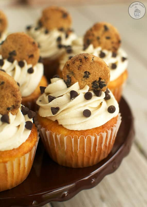 The goodness of a chocolate chip cookie all together in a fabulous cupcake. (With a cookie dough surprise inside!)