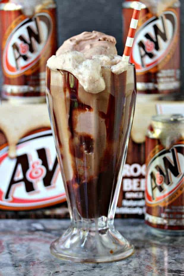 Chocolate Ice Cream, Hot Fudge Sauce and A&W Root Beer combine for the ultimate Root Beer Float. This is incredibly easy to make, and utterly impossible to resist.