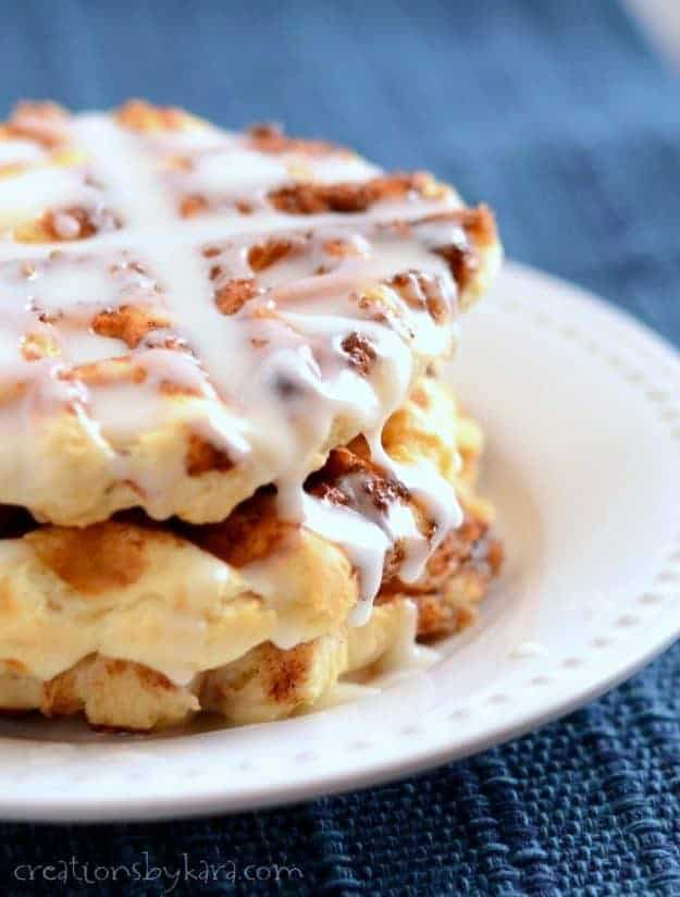Cinnamon Roll Waffles- Loaded with swirls of cinnamon sugar and dripping with glaze, these waffles would make any morning a little bit brighter. They are scrumptious!