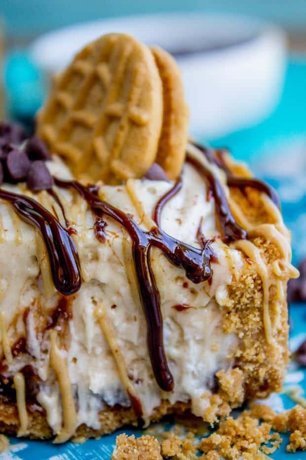 No Bake Frozen Peanut Butter Pie with Hot Fudge -- Part of The Best Hot Fudge Dessert Recipes